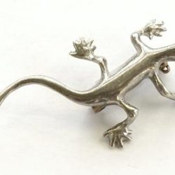 Pewter lizard brooch