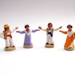 Santon de Noel  8/9 cm: 4 Danseurs de farandole