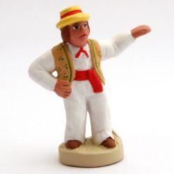 Santon  de noel 8/9 cm : homme  farandole gauche chapeau