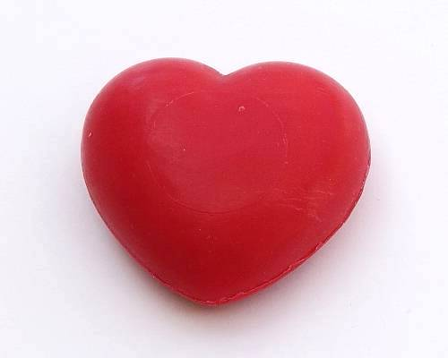 Savon coeur rouge - soap heart shaped, red