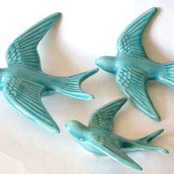 Set of 3 Swallows, ceramic (3 hirondelles ceramiques)