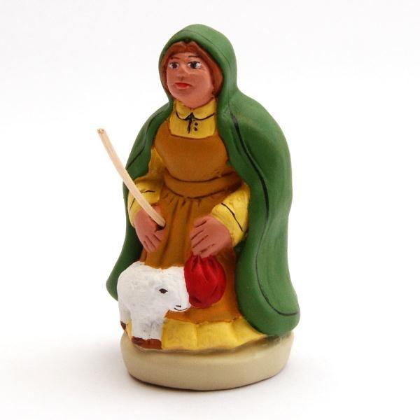 Santon Figure 8/9 cm: Shepherdess with lamb (bergère au mouton)