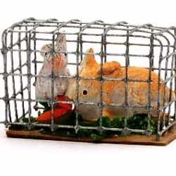 Santon Animal: Rabbits in a Cage (cage lapins)