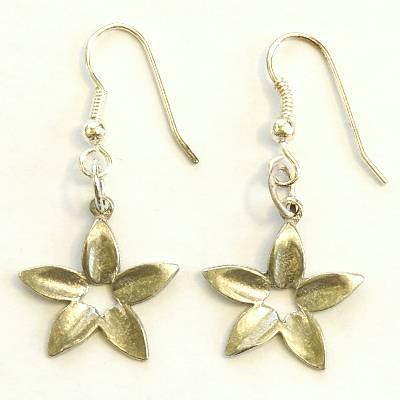 flower earrings - pewter