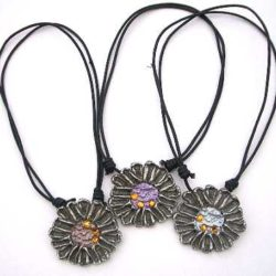 Necklace marguerite pewter