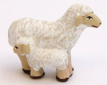 Santon Animal: Sheep + Lam (mouton + agneau)