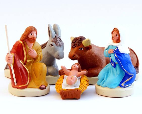 Santon Figures 8/9 cm: Nativity Set of 5 (Nativité)