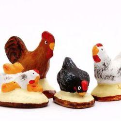 Santon Animaux : Coq + 3 poules