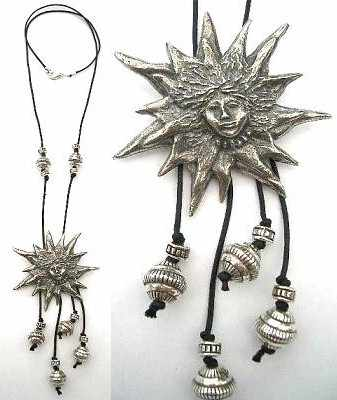 Necklace: Small Sun - pewter
