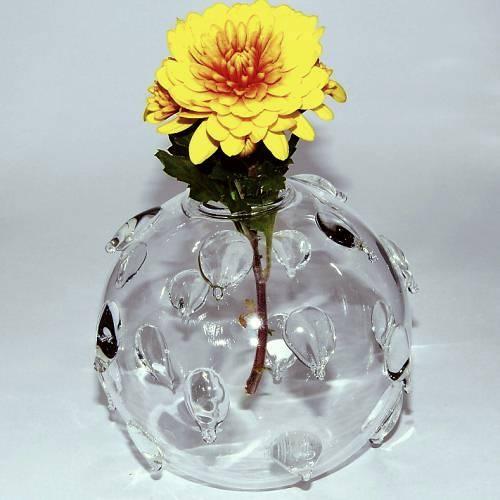 Round Glass Vase, pine core (Vase Boule Verre