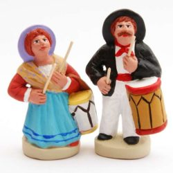 Santon 8/9 cm: Couple Musician Provencal, Tambourine Player