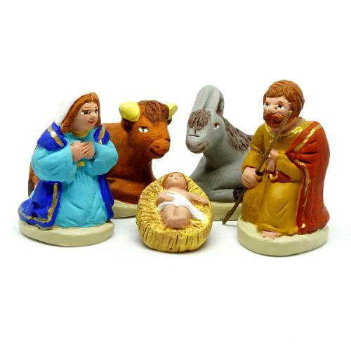 Santon de Provence 4/5 cm : La Nativité, Set de 5 santons